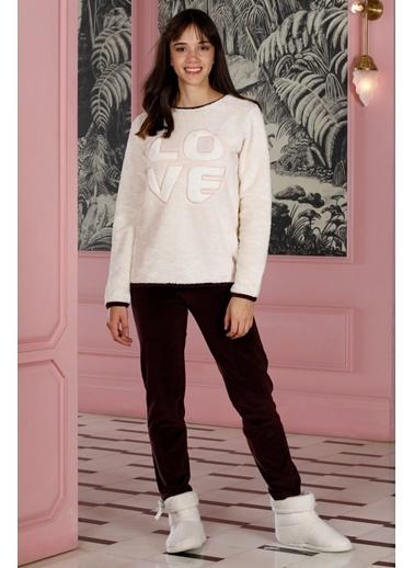 Hays Homewell Kadın Üst Wellsoft Alt Kadife 2Li Uzun Pijama Takımı Bej